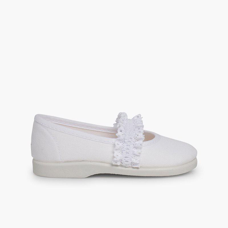 Sapatos Merceditas Menina Tira Elástica Renda