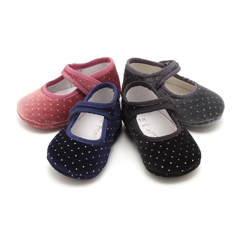 Sapatos Merceditas Bebé Veludo Brilhantes