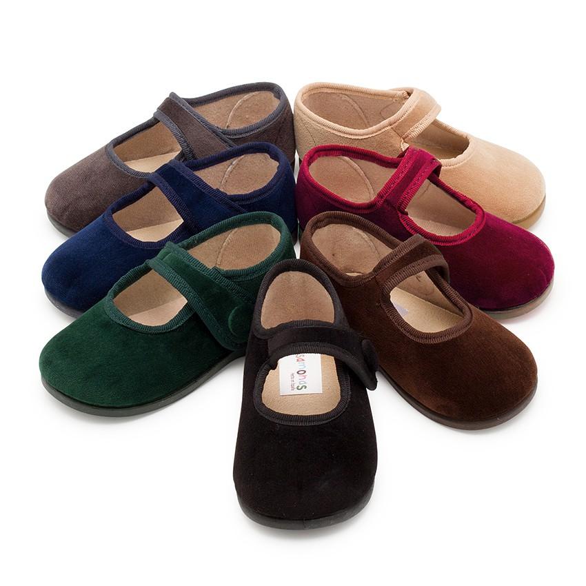 Sapatos Merceditas de Veludo com Botão tiras aderentes