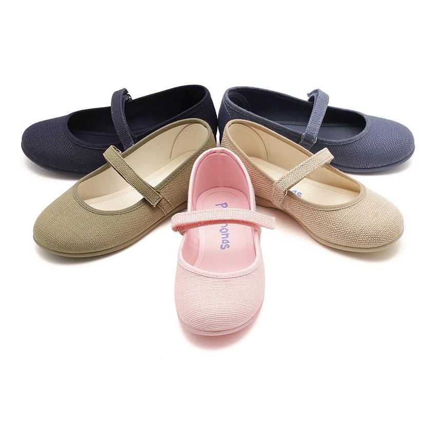 Sapatos Merceditas Linho com tiras aderentes   Fino