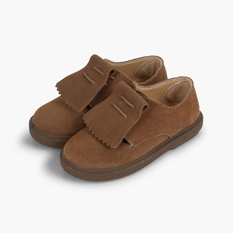 Sapatos Blucher Camurça Franjas Lisos