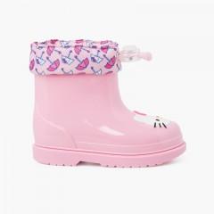 Galochas Hello Kitty cano baixo Rosa