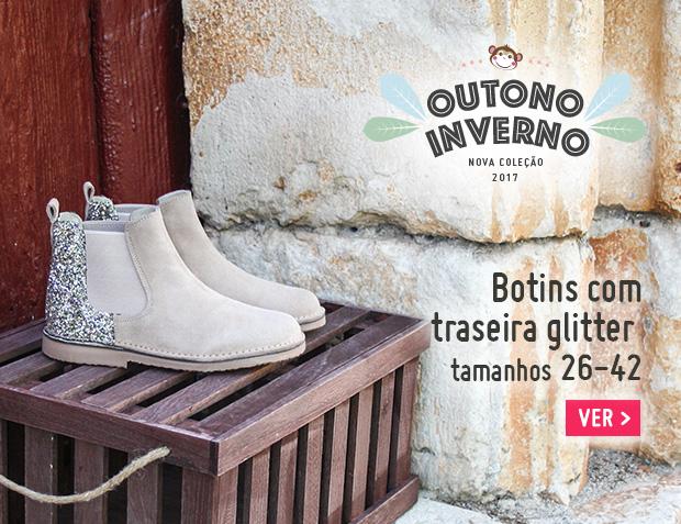 Botins Menina Camurça com traseira glitter 2017
